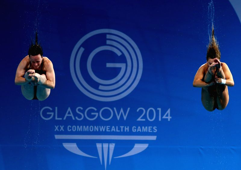 Alicia Blagg/Rebecca Gallantree of England compete during the women's synchronized 3m springboard final of diving at the 2014 Glasgow Commonwealth Games in Royal .