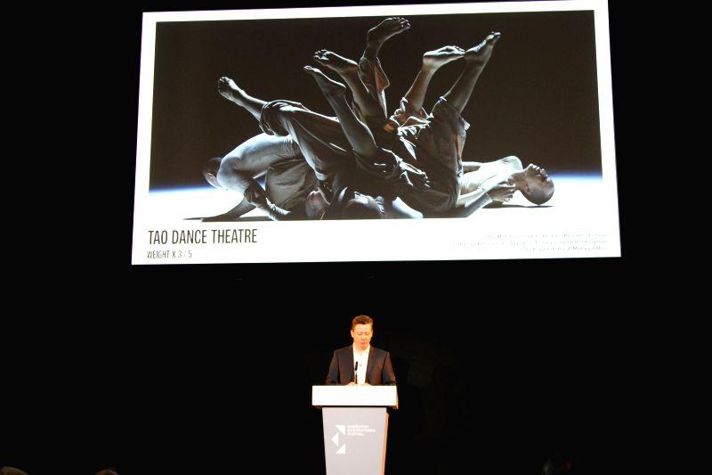 Edinburgh International Festival's new director Fergus Linehan introduces Tao Dance Theater from Beijing during the unveiling ceremony in Edinburgh, Britain, on ...