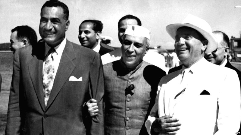 Egyptian leader Gamal Abdel Nasser with Non-Aligned counterparts, India's Jawaharlal Nehru (centre) and Yugoslavia's Marshal Tito