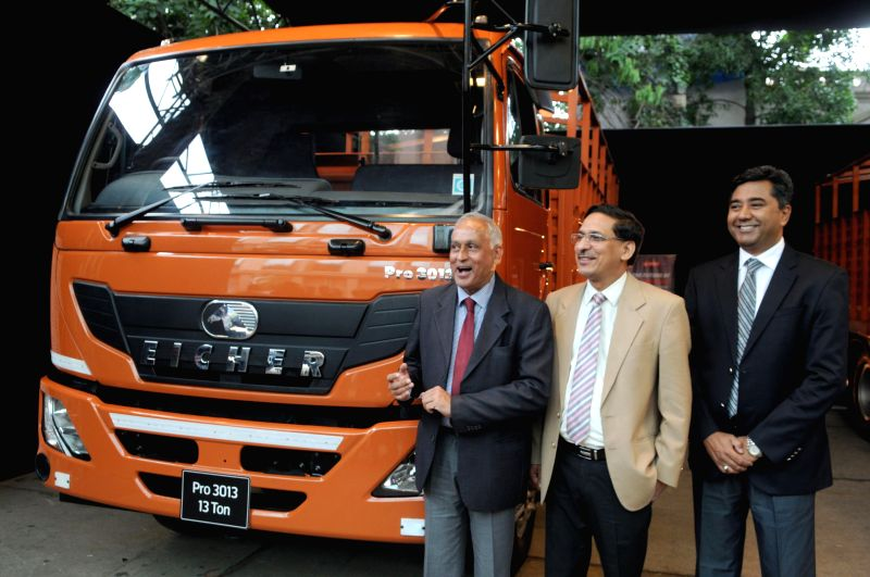 Eicher, Sales and Marketing Senior Vice President Shyam Maller; Eicher, LMD trucks, Vice President (Sales) Vishal Mathur and Eicher, Marketing, Vice President Sanjeev Mahajan during launch of `Eicher - Shyam Maller and Sanjeev Mahajan