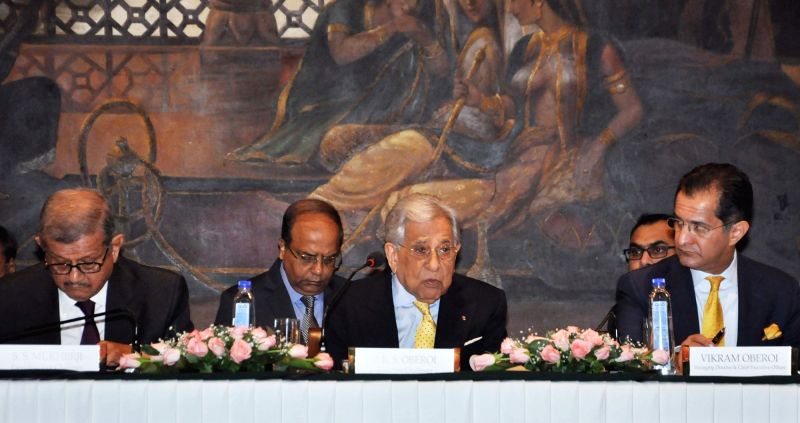 EIH Limited Executive Chairman Prithvi Raj Singh Oberoi, MD and CEO Vikram Oberoi and Executive Vice Chairman S.S. Mukherji during the Annual General Meeting of EIH Limited, in Kolkata on ...