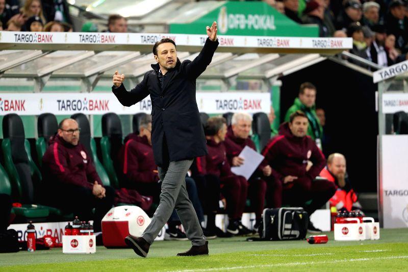 Eintracht Frankfurt's coach Niko Kovac reacts during a semifinal match of German Cup between Borussia Moenchengladbach and Eintracht Frankfurt in ...