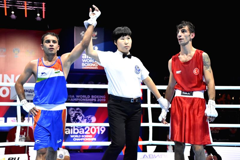 Ekaterinburg: India's Amit Panghal celebrates during the AIBA Men's World Championships quarter-finals match in Ekaterinburg, Russia on Sep 17, 2019. (Photo: IANS)