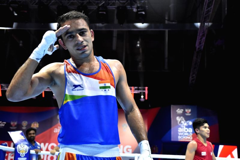 Ekaterinburg: India's Amit Panghal in action against Carlo Paalam of Philippines at the AIBA Men's World Championships , in Russia's in Ekaterinburg on Sep 18, 2019. Panghal sailed to a 4-1 win to confirm India's medal this year. (Photo: I