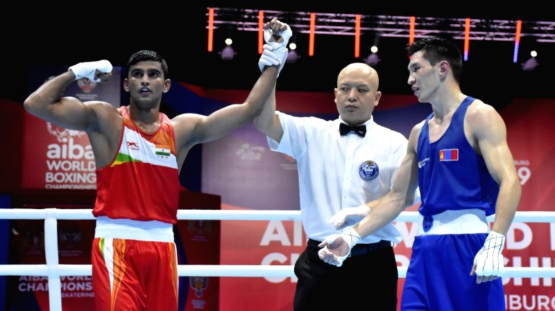 Ekaterinburg: India's Manish Kaushik celebrates during the AIBA Men's World Championships quarter-finals match in Ekaterinburg, Russia on Sep 17, 2019. (Photo: IANS)
