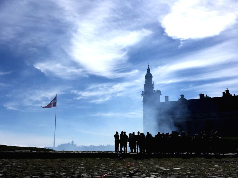 ELSINORE, April 17, 2017 - Cannons are fired with 27 shots as a salute to the Queen Margrethe II of Denmark, at Kronborg Castle in Elsinore, Denmark, April 16, 2017. Queen Margrethe II of Denmark ...