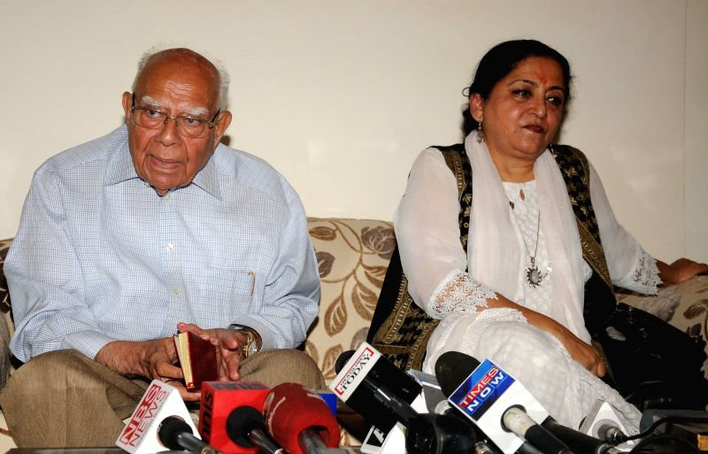 Eminent lawyer and Rajya Sabha member Ram Jethmalani during a press conference in New Delhi on July 16, 2014.