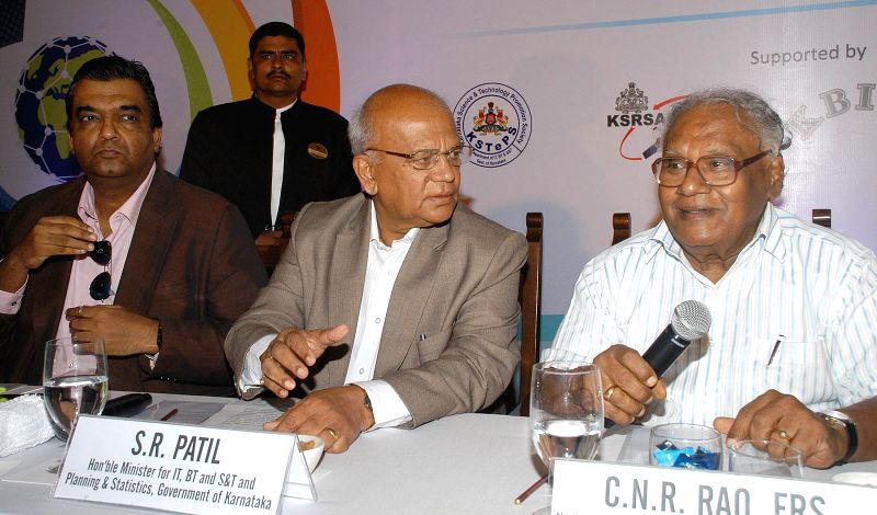 Eminent scientist and Bharat Ratna awardee Professor CNR Rao with Karnataka Minister for Information Technology, Biotechnology and Science & Technology during 7th Bangalore Indian Nano in ...