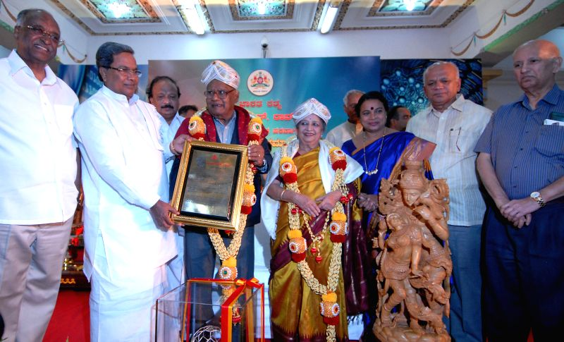 Eminent scientist C.N.R. Rao being felicitated by Karnataka Chief Minister Siddaramaiah at Vidhana Soudha in Bangalore on June 18, 2014. Also seen DH Shankar Murthy, Kannada and Culture Minister of .. - Siddaramaiah