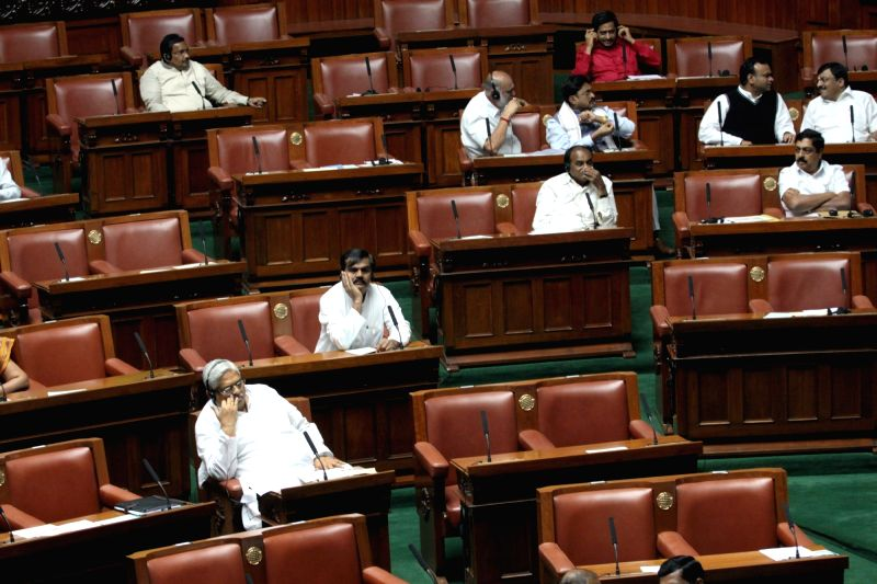 Empty seats seen on the first day of Winter Assembly Session at Vidhan Soudha, in Bengaluru on Nov. 16, 2015.