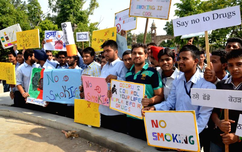 Engineering students participate in an anti-drug rally organised in Amritsar on June 24, 2014.
