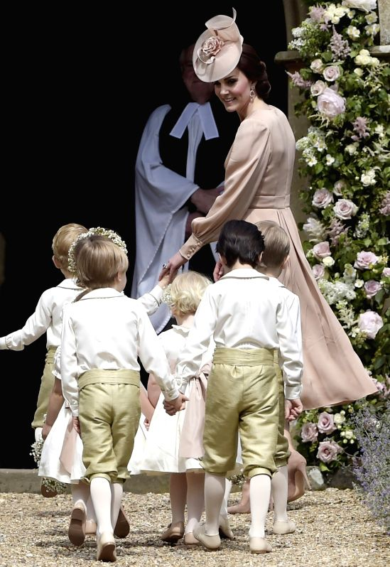 ENGLEFIELD (BRITAIN), May 20, 2017 Catherine, the Duchess of Cambridge, the sister of Pippa Middleton arrives at St. Mark's Church with the flower girls and page boys for the wedding of ...