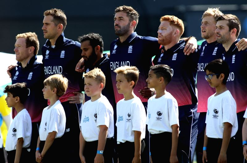 English Player stand for national anthem ahead of first Semi-final match of ICC Champions Trophy between England and Pakistan at Sophia Gardens in Cardiff, Wales, Britain on June 14, 2017. ... - Surjeet Yadav