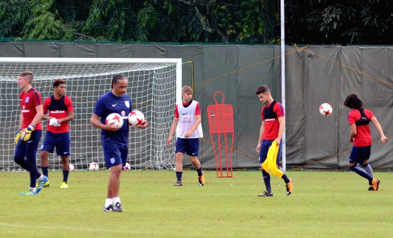 English players during a practice session ahead of FIFA U17 World Cup at SAI ground in Kolkata on Oct 7, 2017.