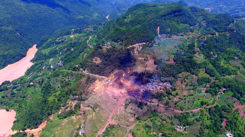 ENSHI, July 20, 2016 - Aerial photo taken on July 20, 2016 shows the site of a natural gas pipeline explosion in Cuijiaba Township of Enshi City, central China's Hubei Province. Two people have died ...