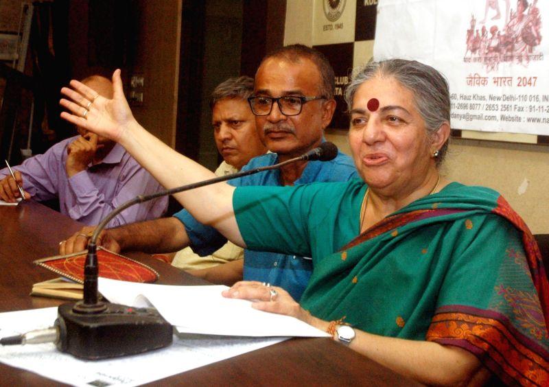 Environmental activist Dr. Vandana Shiva addresses a press conference on 100 years of Champaran Satyagrah in Kolkata, on April 19, 2017.