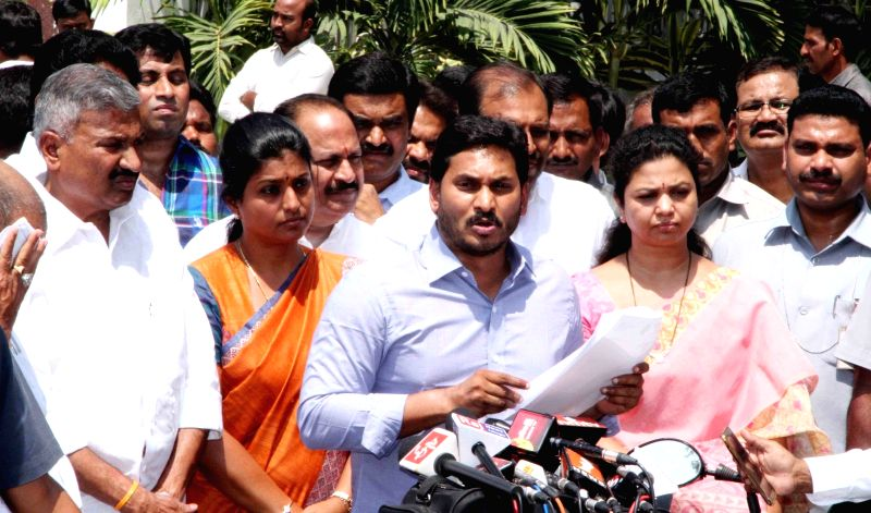 er of opposition in Andhra Pradesh Assembly Y. S. Jaganmohan Reddy talks to press after meeting Governor of Andhra Pradesh and Telangana, ESL Narasimhan at Raj Bhavan in Hyderabad, on ...