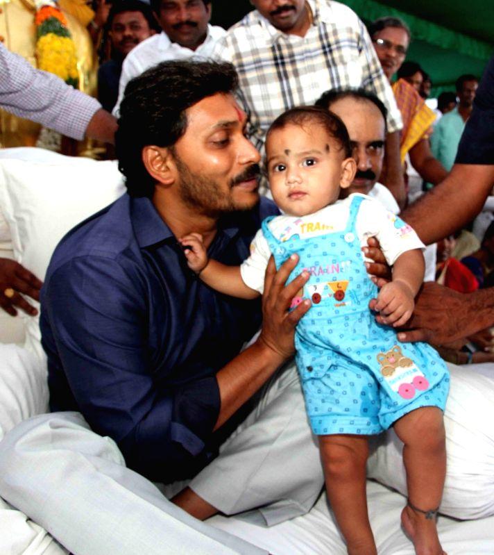 er of Opposition in Andhra Pradesh YS Jaganmohan Reddy during Rythu Deeksha at Nallapadu in Guntur on May 2, 2017. - Jaganmohan Reddy