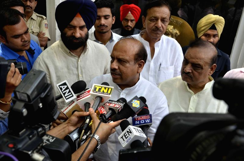 er of Opposition in Delhi Assembly Vijender Gupta talks to press after meeting Delhi Lieutenant Governor Anil Baijal at Raj Niwas in New Delhi, on May 8, 2017. - Assembly Vijender Gupta