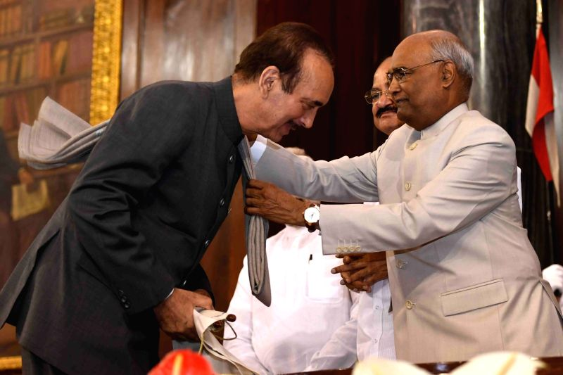 er of Opposition in Rajya Sabha, Ghulam Nabi Azad receives Outstanding Parliamentarian Award for the year 2015 from President Ram Nath Kovind during Outstanding Parliamentarian Award ... - Nath Kovind