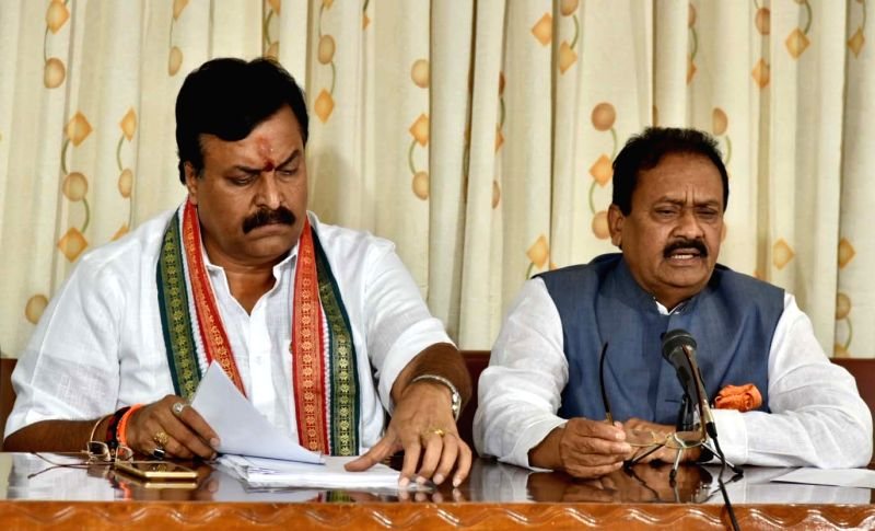 er of Opposition in Telangana Assambly Mohammed Ali Shabbir and Telangana Congress MLC P Sudhakar Reddy addresses a press conference, in Hyderabad, on July 30, 2018. - P Sudhakar Reddy