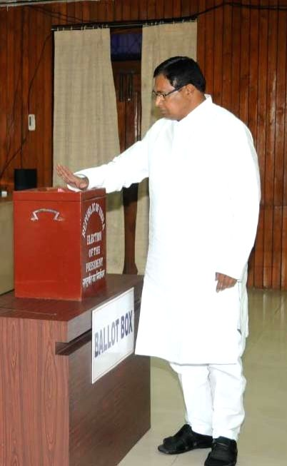er of Opposition in Telangana Assembly K Jana Reddy casts his vote during presidential polls at Telangana Assembly in Hyderabad on July 17, 2017.