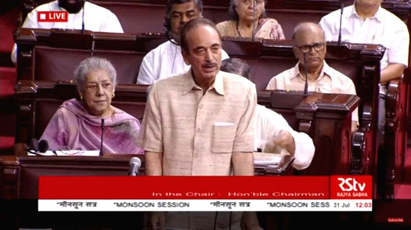 er of opposition in the Rajya Sabha Ghulam Nabi Azad speaks during a discussion on National Register of Citizens of India (NRC) of Assam that excludes over 40 lakh names, at Rajya ...
