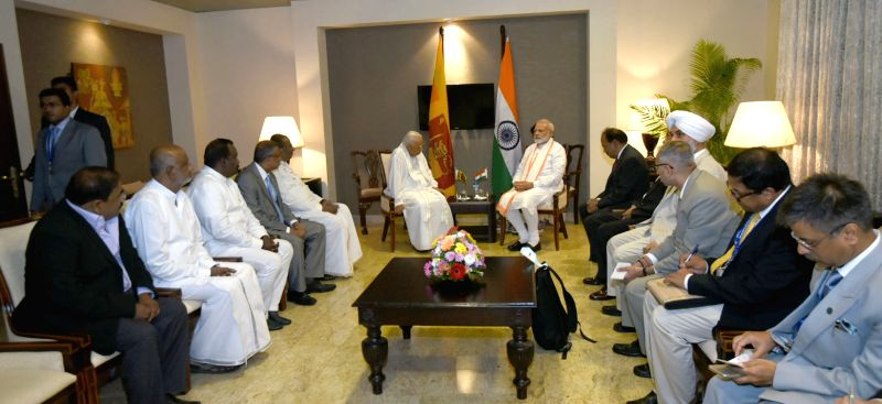 er of Opposition R. Sampanthan and TNA leaders calls on the Prime Minister Narendra Modi, in Sri Lanka on May 12, 2017. - Narendra Modi