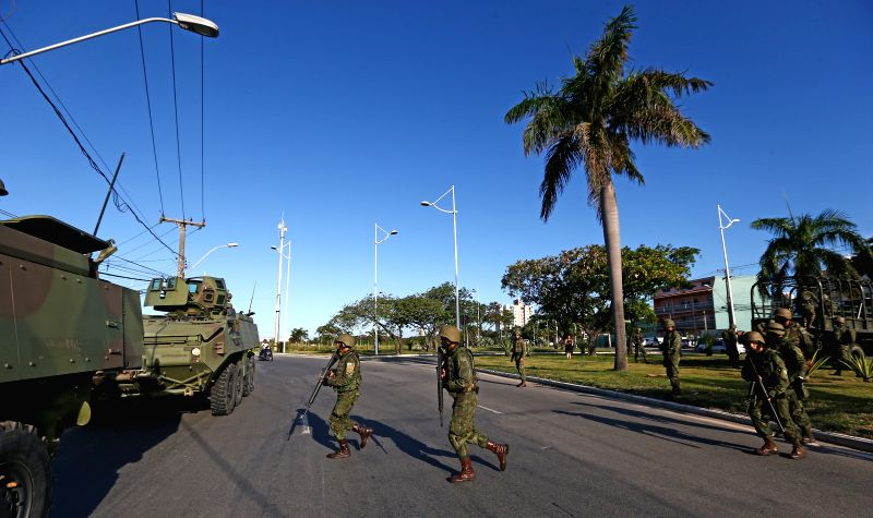 ESPIRITO SANTO, Feb. 10, 2017 - Soldiers arrive to tight security in Vitoria, the capital of southeastern state of Espirito Santo, Brazil, on Feb. 9, 2017. Brazil's armed forces on Wednesday took ...