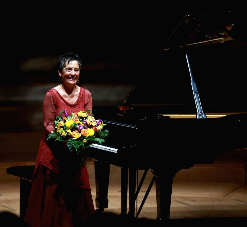 Portuguese pianist Maria Joao Pires reacts to the applause during the Ruhr Piano Festival at Philharmonie Essen, Germany, on June 15, 2014. The Ruhr Piano Festival is