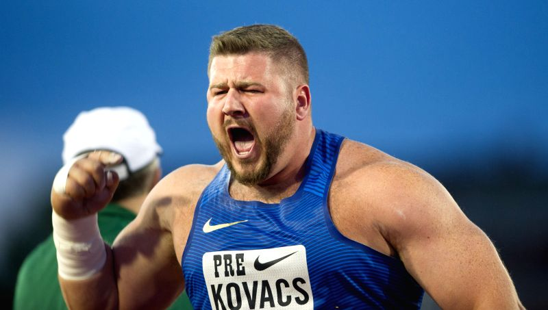 EUGENE, May 28, 2016 - Joe Kovacs of the United States celebrates during the Men's Shot Put Final at the 2016 IAAF Diamond League in Eugene, the United States, on May 27, 2016. Joe Kovacs claimed the ...