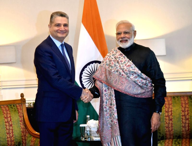 Eurasian Economic Commission Chairman and former Prime Minister of Armenia, Tigran Sargsyan calls on Prime Minister Narendra Modi, in St. Petersburg, Russia on June 2, 2017. - Narendra Modi