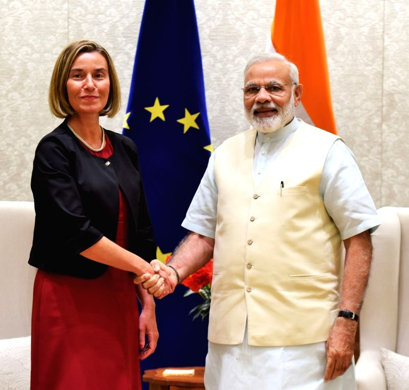 European Union High Representative for Foreign Affairs and Security Policy Federica Mogherini calls on the Prime Minister Narendra Modi, in New Delhi on April 21, 2017. - Narendra Modi