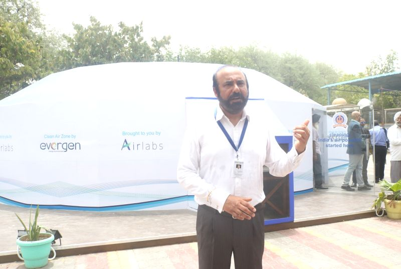 """Evergen Systems Founder and CEO Sukhbir Sidhu at the installation of clean Air Zone station """"AirHavn"""" at Rajab Ganj Gurdwara, in New Delhi on June 13, 2018."""