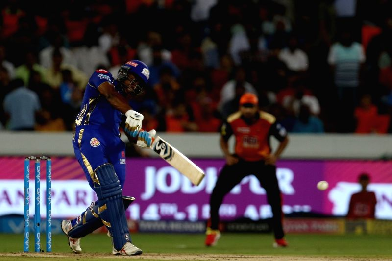 Evin Lewis of Mumbai Indians in action during an IPL 2018 match between Sunrisers Hyderabad and Mumbai Indians at Rajiv Gandhi International Cricket Stadium in Hyderabad on April 12, 2018.