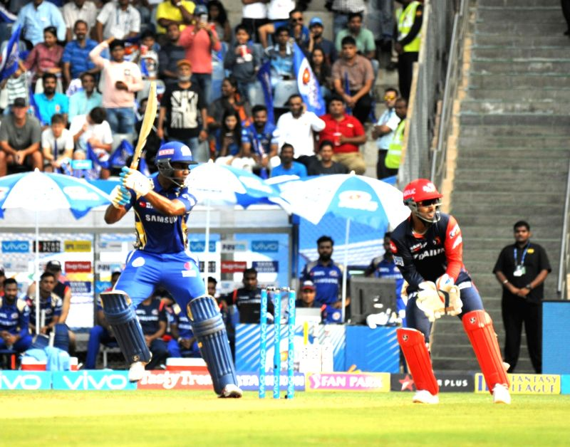 Evin Lewis of the Mumbai Indians in action during an IPL 2018 match between Delhi Daredevils and Mumbai Indians at Wankhede Stadium in Mumbai on April 14, 2018.
