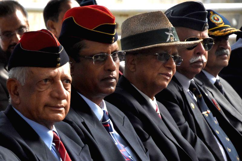 Ex-Servicemen during Kargil Vijay Diwas celebrations at National Military Memorial Park, in Bengaluru on July 26, 2018.
