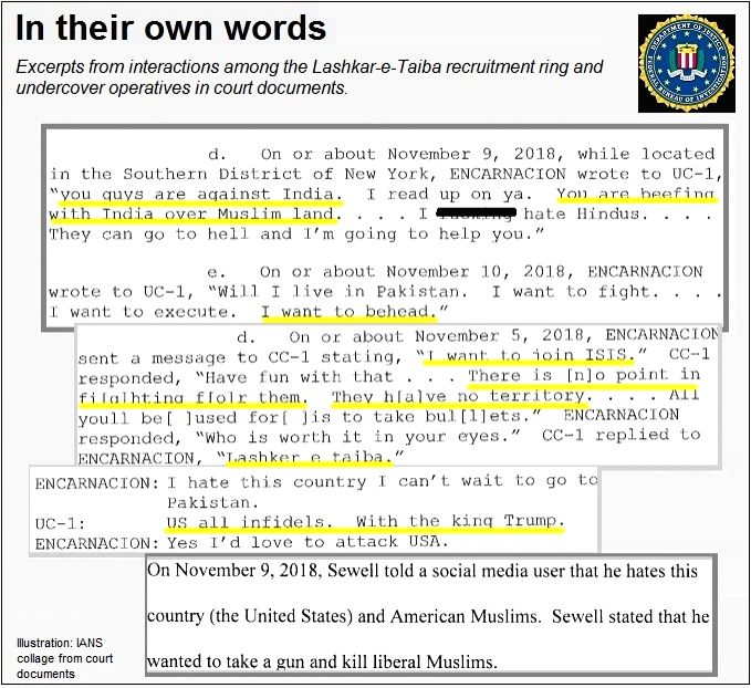 Excerpts from court documents showing interactions among Michael Kyle Sewell, who has been sentenced to 20 years by a United States Federal judge for conspiring to help Lashkar-e-Taiba, Jesus Wilfredo Encarnacion, who wanted to join the LeT, and unde