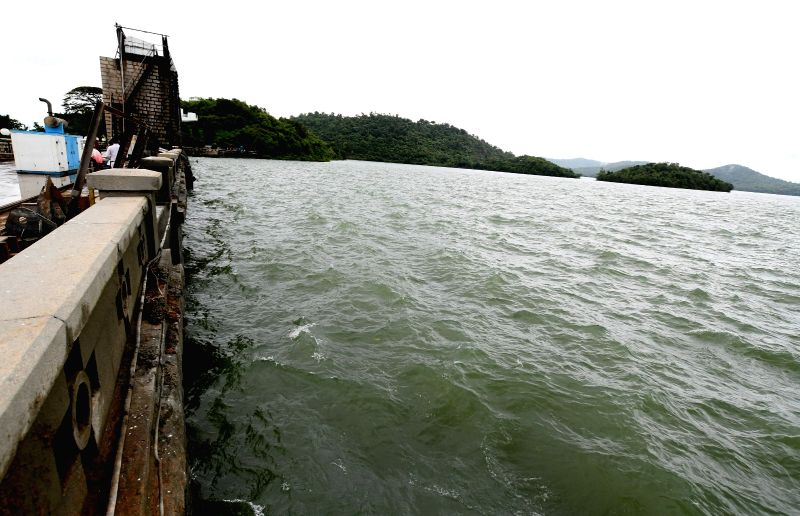 Excess water being released from the Tunga Bhadra dam after heavy rains in the dam's catchment areas filled it to its maximum limit, in Karnataka's Shimoga on July 24, 2018.