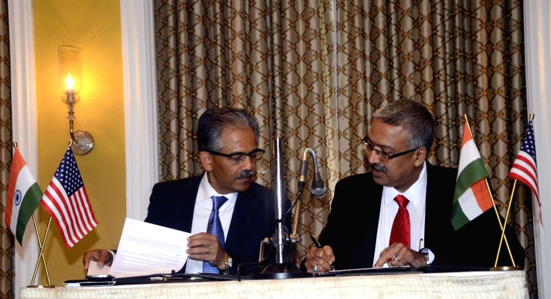 Executive Director of SelectUSA Vinai Tummalapally and Chairman and Managing Director of Export-Import Bank of India Yaduvendra Mathur sign Memorandum of Intent (MOI) to encourage collaboration to ...