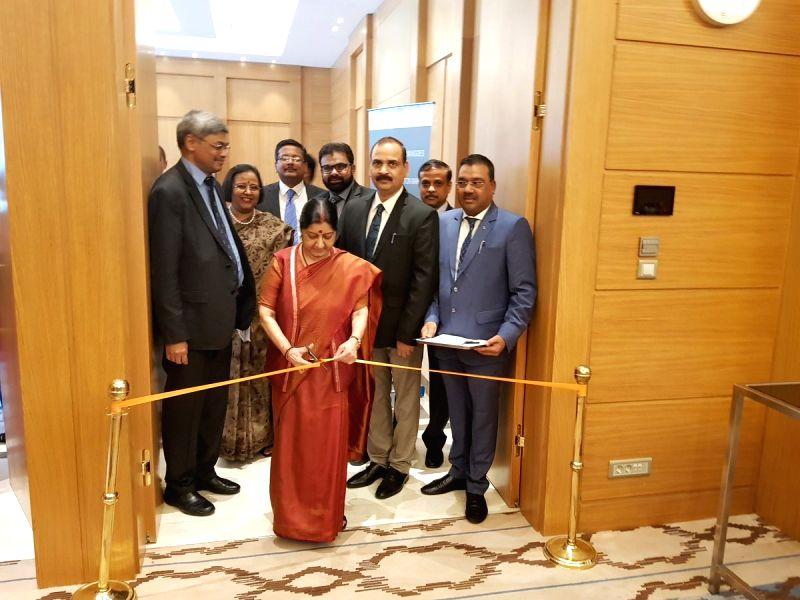 External Affairs Minister Sushma Swaraj inaugurates Mango festival organised by the Uttar Pradesh Government, in Tashkent, Uzbekistan, on Aug 5, 2018. - Sushma Swaraj