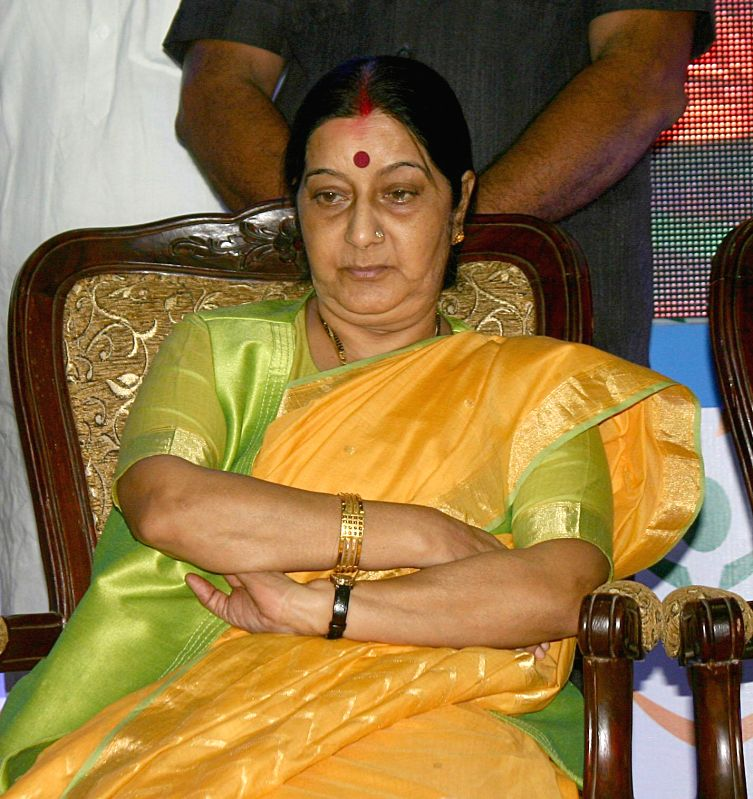 External Affairs Minister Sushma Swaraj addresses at the inaugural function of Prime Minister Jan-Dhan Abhiyan in Bhopal on Aug 28, 2014. - Sushma Swaraj