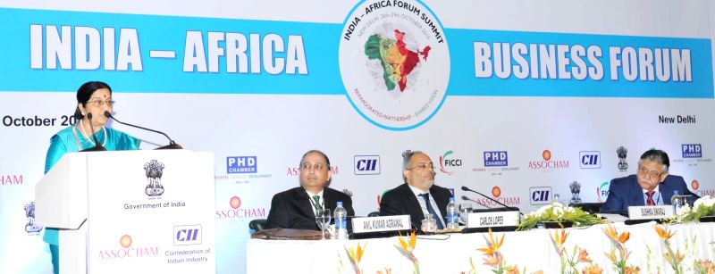 External Affairs Minister Sushma Swaraj addresses at the India Africa Business Forum in New Delhi, on Oct 28, 2015.