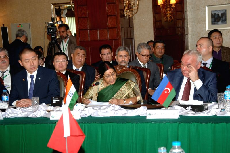 External Affairs Minister Sushma Swaraj addresses at the Heart of Asia Conference in Islamabad, Pakistan on Dec 9, 2015.