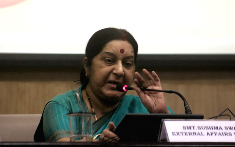 External Affairs Minister Sushma Swaraj addresses during a programme organised to launch integration of e-Sanad with CBSE's academic repository in New Delhi on May 24, 2017. 'e-Sanad' ... - Sushma Swaraj