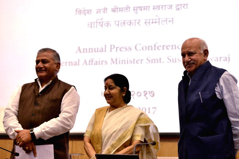 External Affairs Minister Sushma Swaraj addresses during the annual press conference of her ministry in New Delhi, on June 5, 2017. Also seen Union MoS External Affairs Gen (Retd.) V.K. ... - Sushma Swaraj and K. Singh