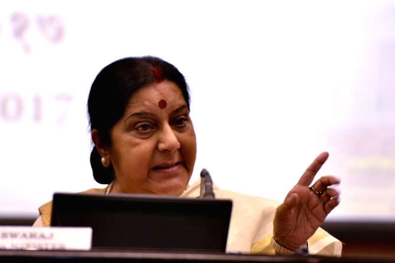 External Affairs Minister Sushma Swaraj addresses during the annual press conference of her ministry in New Delhi, on June 5, 2017. - Sushma Swaraj
