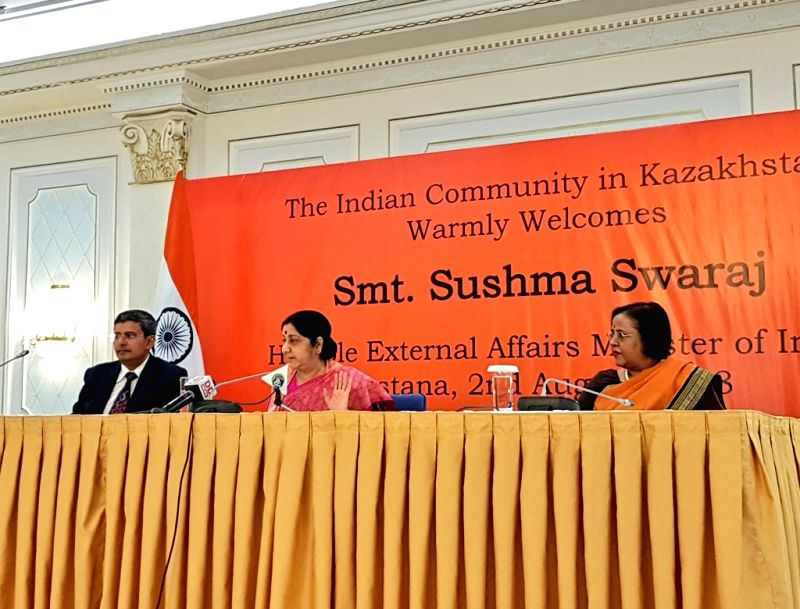 External Affairs Minister Sushma Swaraj addresses at the Indian community event in Astana, Kazakhstan on Aug 2, 2018. - Sushma Swaraj