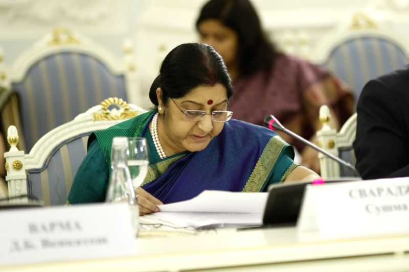 External Affairs Minister Sushma Swaraj addresses at the plenary session of the 23rd India-Russia Inter-Governmental Commission on Trade, Economic, Scientific, Technological and Cultural ... - Sushma Swaraj
