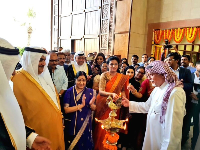 External Affairs Minister Sushma Swaraj and Bahrain's Foreign Minister Khalid bin Ahmed Al Khalifa at the joint inauguration of the Embassy of India Complex in Manama on July 14, 2018. - Sushma Swaraj